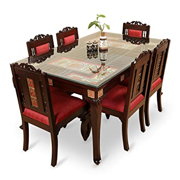 exclusivelane teak wood 6 seater dining table chair with warli dhokra work - Teak Wood Dining Table