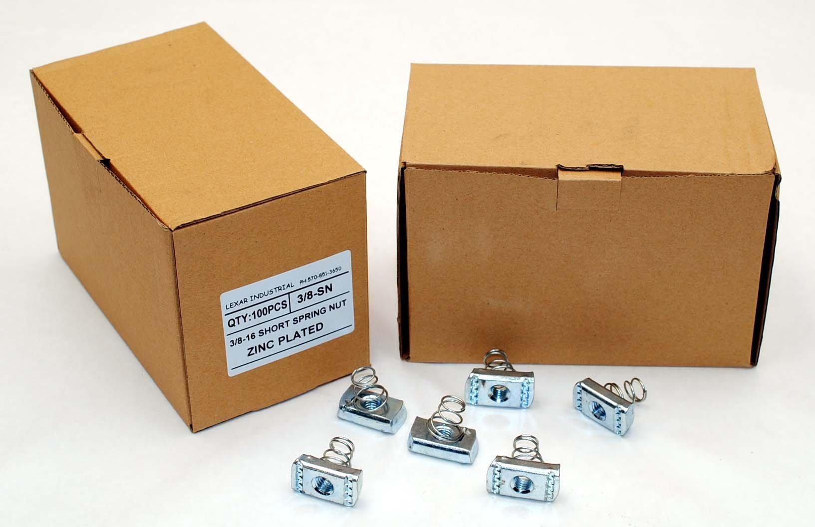 (100) Strut Channel Nuts 3/8-16 Short Spring Zinc Plated Unistrut Nut by Lexar Industrial