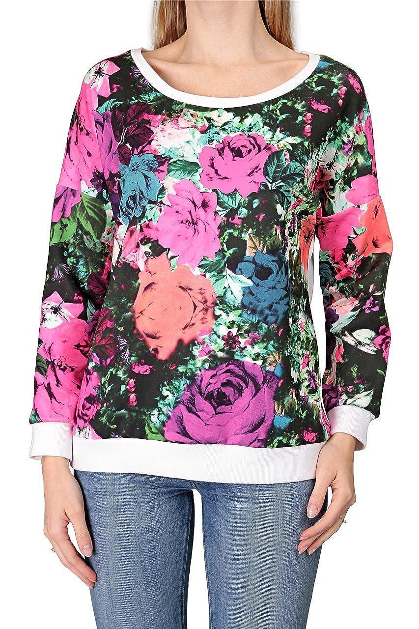 Dine 'n' Dance Damen Sweatshirt ROSES, Farbe: Bunt, Größe: L