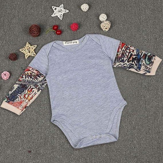 9dc6f9210ae3 Hunzed Newborn Infant Baby Boys Cool Patchwork Romper
