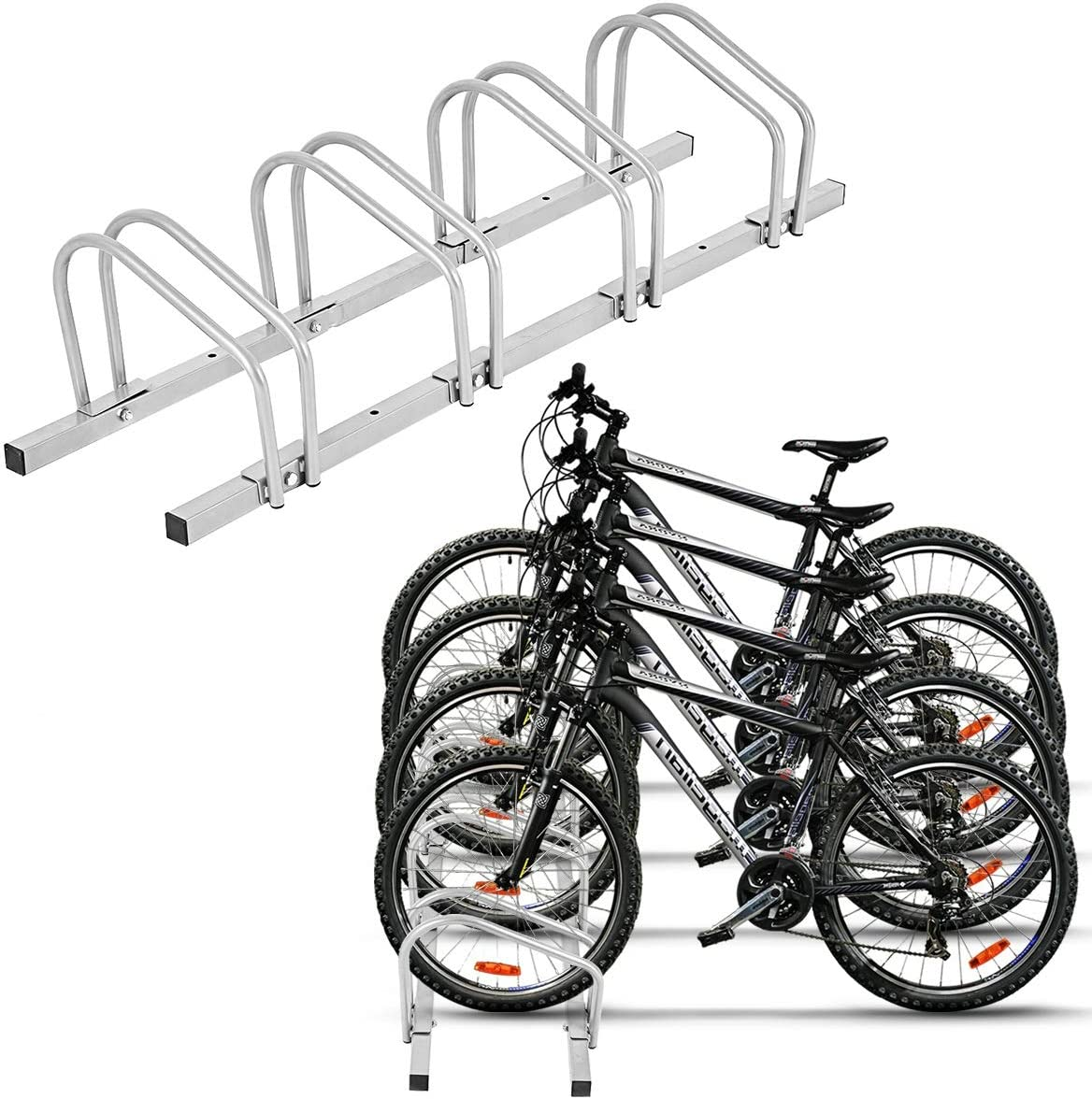 Set of 4 Bike Floor Parking Single Rack Home Storage Garage Bicycle Stands