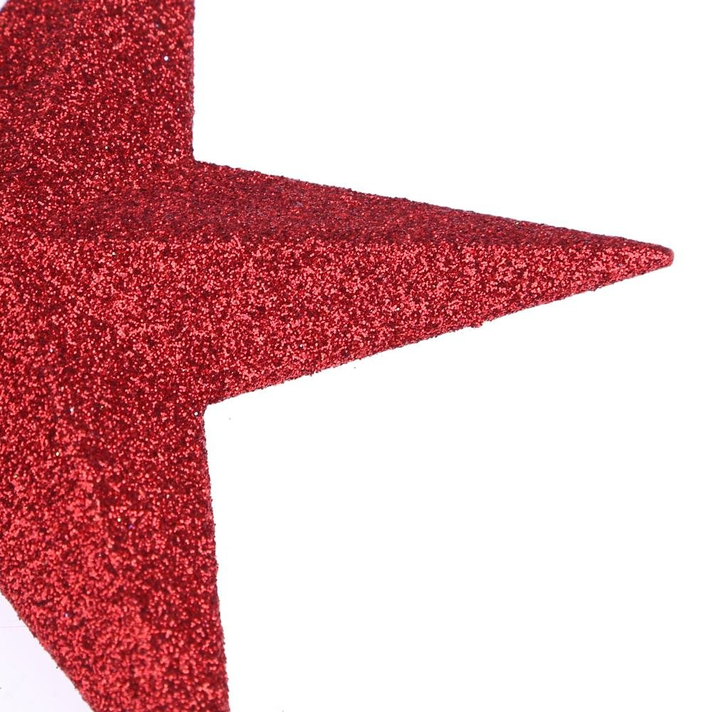 Whitelotous Christmas Tree Topper Top Glittered Stars Xmas Decor Accessories Sparkle Ornament (Red)(11cm)