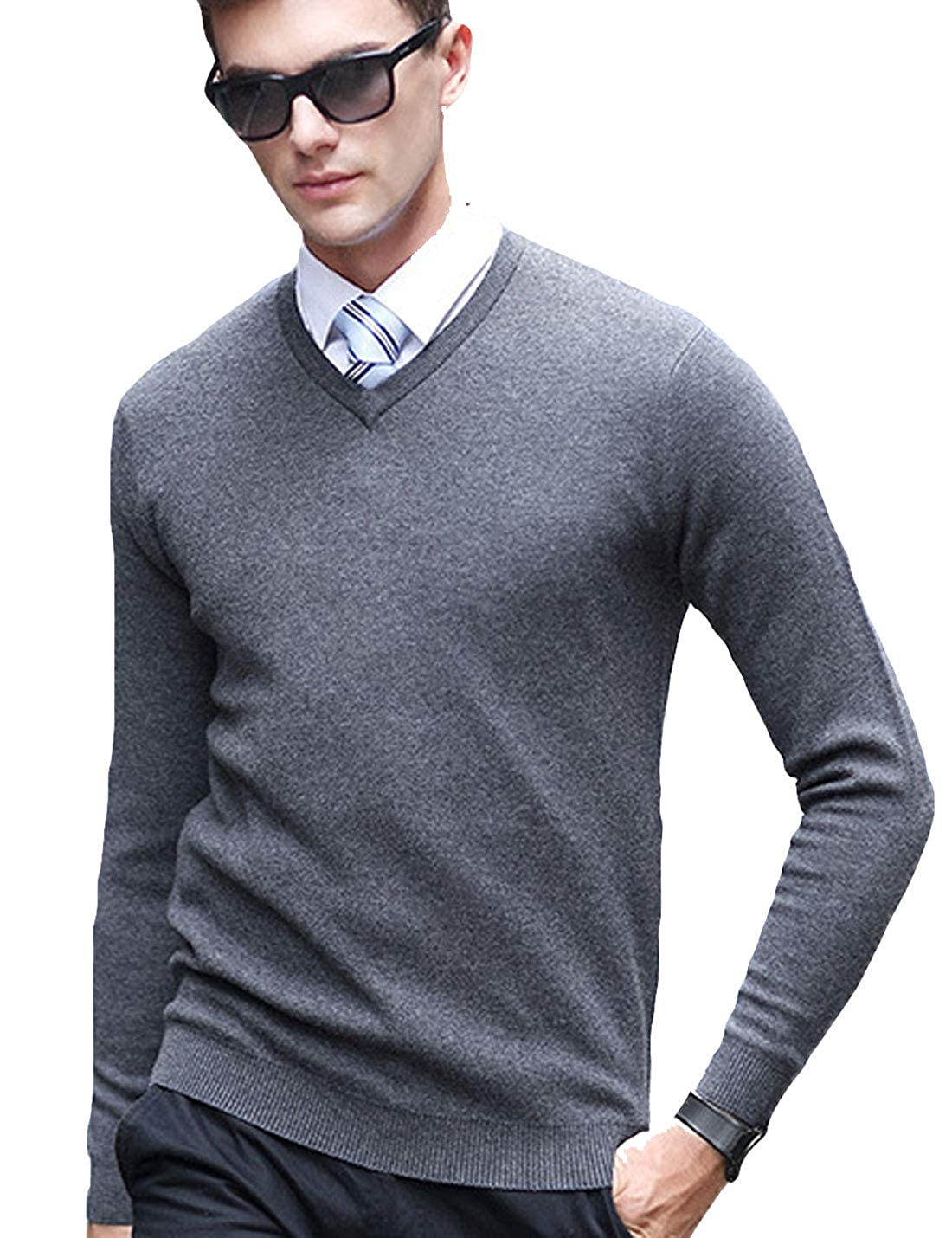 Flygo Mens Classic Slim V-Neck Wool Pullover Cashmere Sweaters