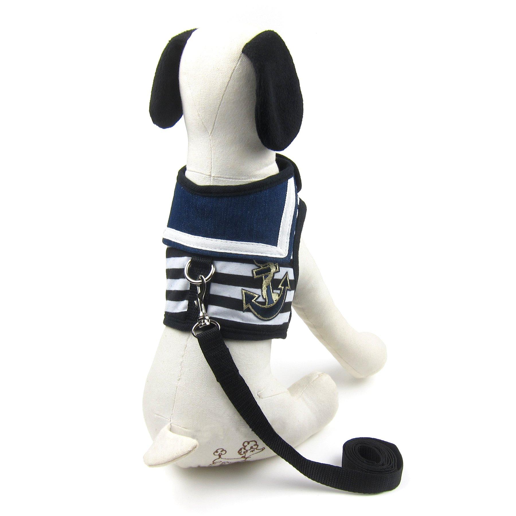 Alfie Pet by Petoga Couture - Dustin Sailor Harness and Leash Set - Color: Black Stripe, Size: Small