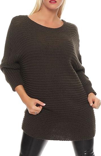 Malito Suéter en el Básico-Look Cárdigan Chaleco Chaqueta Capa Bolero Poncho Oversized Rebecca Casual 7325 Mujer Talla Ùnica