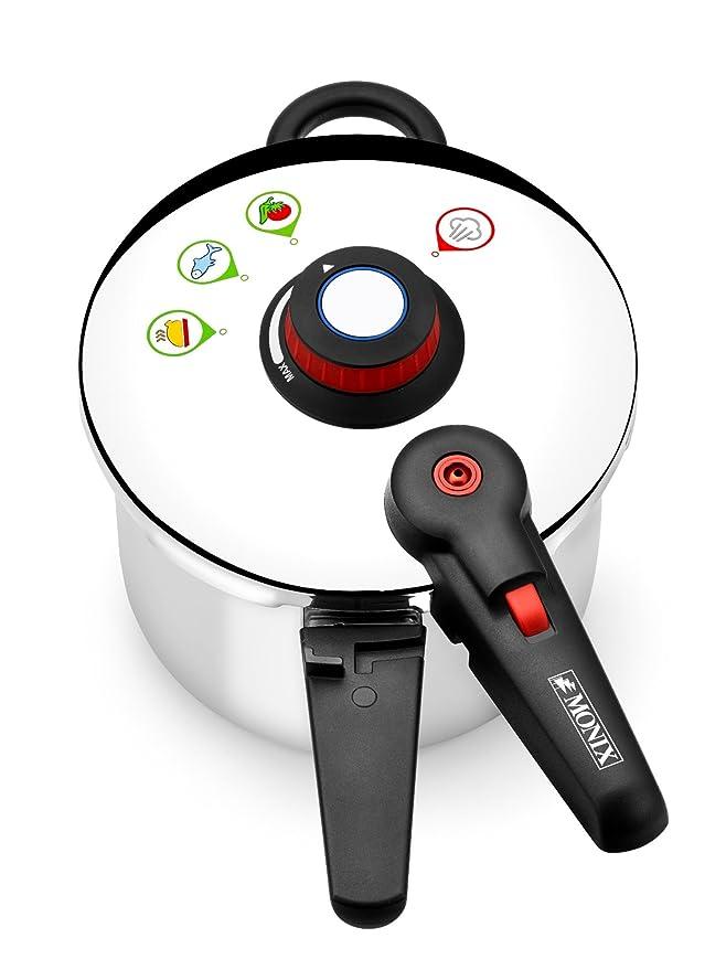 Monix Selecta Olla a presión rápida 4 litros con Sistema de selección de Alimentos y Cierre automático, Acero INOX 18/10, Plata