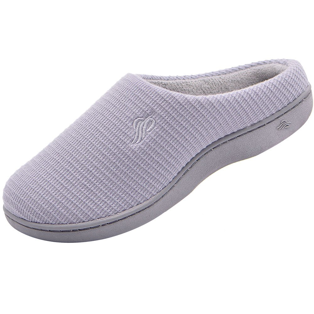 Wishcotton Women's Breathable Cotton Memory Foam House Slippers w/Indoor Outdoor Sole