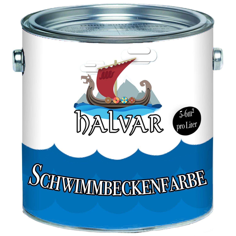 Halvar Schwimmbeckenfarbe skandinavische Poolfarbe Schwimmbadfarbe Schwimmbeckenbeschichtung in Blau Weiß Grün (2,5 L, Weiß) Farben Löwe