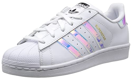 hot sale online 61cc9 c39d5 Adidas Youth Superstar White Metallic Silver Leather Trainers 5 US