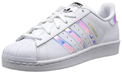 adidas Originals Superstar J White/Iridescent Leather 6 M US Big Kid