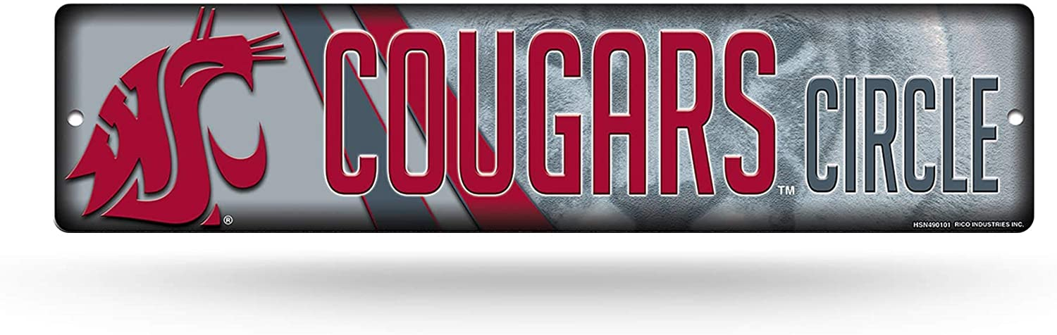 NCAA Washington State Cougars 16-Inch Plastic Street Sign Décor