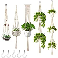 ERCINS - 5 Pack Macrame Plant Hangers - with 5 Hooks - Different Tiers - Handmade Cotton Rope - Hanging Planters Set…