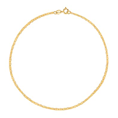 watches gold bracelet ankle chain for jewelry product women diamond curata inch anklet cut cable white