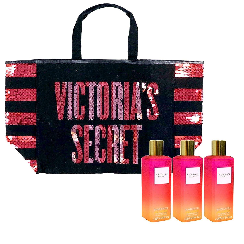 Victoria's Secret Gift Set Bombshell Paradise Mist & Tote Bag 4 Piece Combo