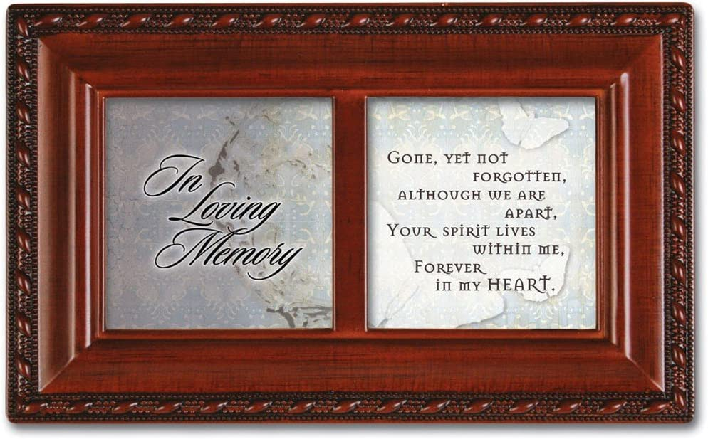 Cottage Garden Loving Memory Love You Woodgrain Rope Trim Jewelry Music Box Plays Amazing Grace
