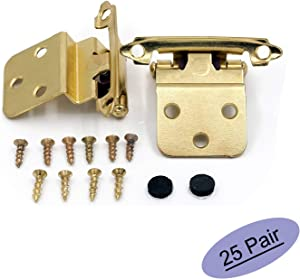 """3/8"""" Inset Cabinet Hinges Face Mount Self Closing Cabinet Door Hinges Inset - goldenwarm Brass Stainless Steel Inset Hinges for Kitchen Cabinets SCH38BB-25Pair"""