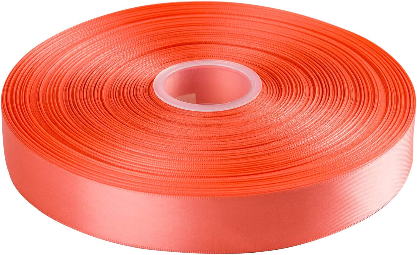 Hair Bow Gift Wrapping Coral LaRibbons 50 Yards 1 Double Face Satin Ribbon for Craft 238 Lt Wedding Deco