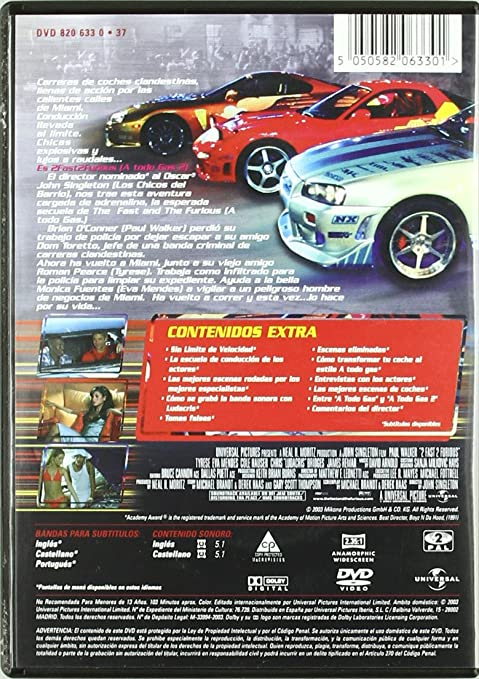 2 Fast 2 Furious A Todo Gas 2 Import Espagnol Movies Tv