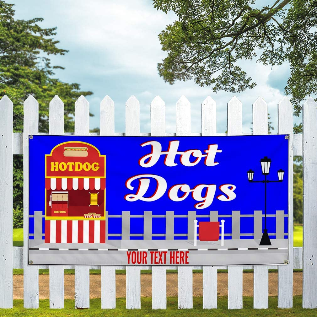 Custom Industrial Vinyl Banner Multiple Sizes Hot Dogs Style C Personalized Text Here Funny and Novelty Outdoor Weatherproof Yard Signs Blue 10 Grommets 48x120Inches