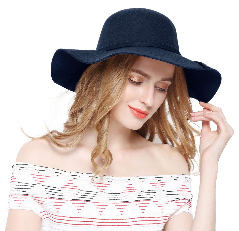 Lovful Women 100% Wool Wide Brim Cloche Fedora Floppy hat Cap,Navy by Lovful (Image #6)