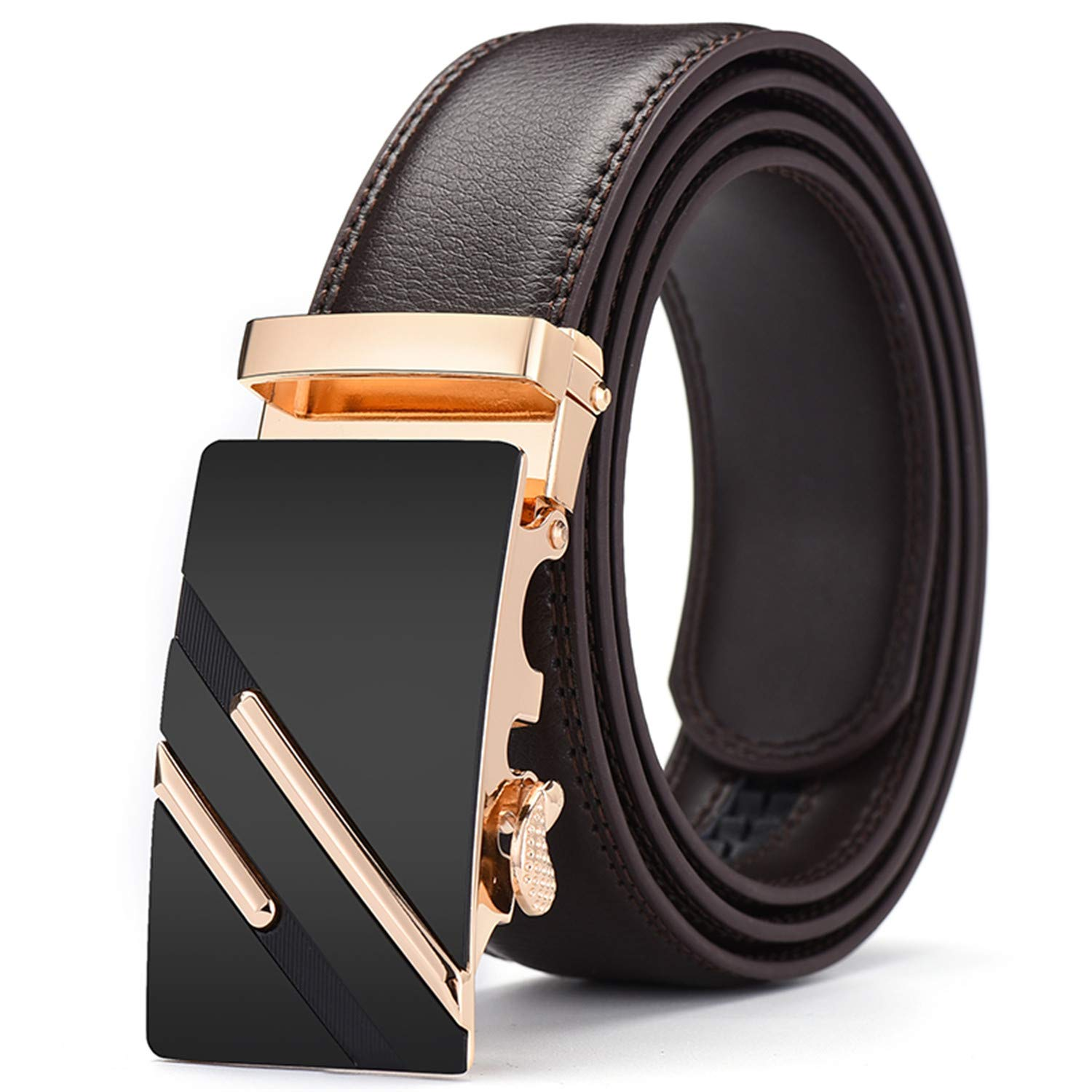 Pajamasea Men Belt Automatic Genuine Leather Belt Automatic Buckle Business Belts