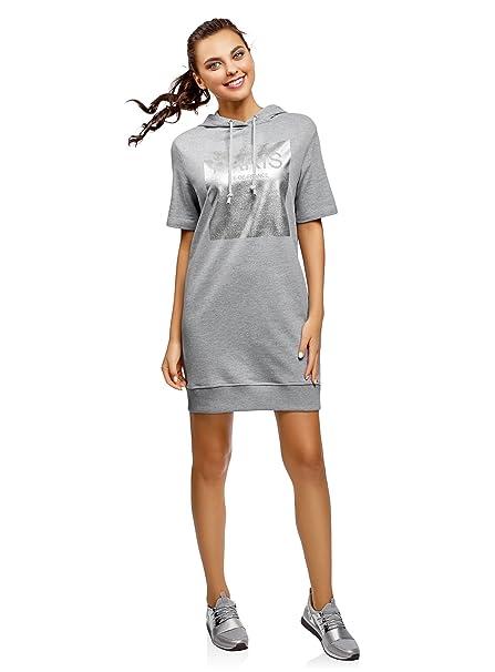 7729120a0c0e oodji Ultra Donna Abito in Cotone con Cappuccio  Amazon.it  Abbigliamento