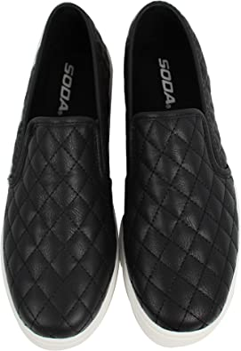 Round Toe Quilted Slip On Loafer Shoes
