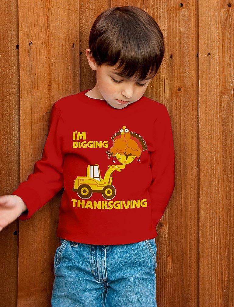 Im Digging Thanksgiving Cute Turkey Tractor Toddler//Kids Long Sleeve T-Shirt