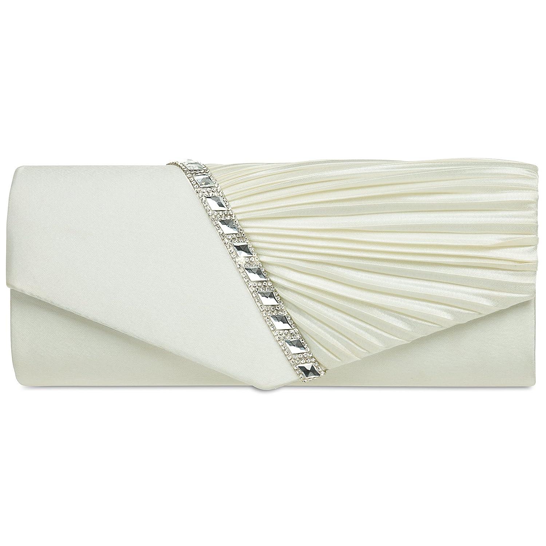 CASPAR TA391 elegante Damen Satin Clutsch Tasche Abendtasche mit Glitzer Strass und Falten 4251085299391