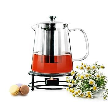 Sendez Teekanne 12l Mit Edelstahl Sieb Und Stövchen Teebereiter
