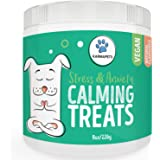 KarmaPets Calming Treats for Dogs - Natural Vegan Dog Food Supplement for Stress Relief & Anxiety Aid - Soft Chews with Infused Organic Hemp Oil & Valerian Root, For Storms, Travel, Barking & Chewing