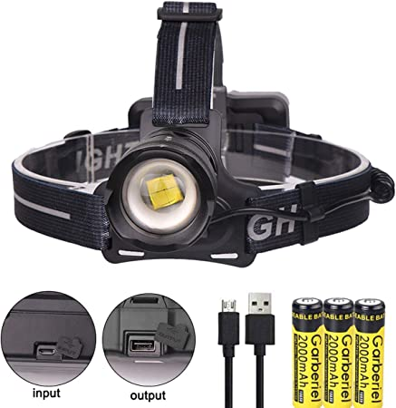 Ultra Bright LED Headlight Head Light Lamp Zoomable 3 Modes 3 x Battery Charger