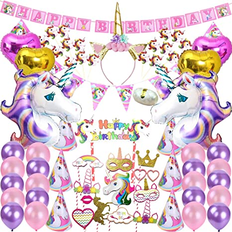Image Unavailable Not Available For Color 82 Pcs Unicorn Party Supplies Pack Decoration Birthday
