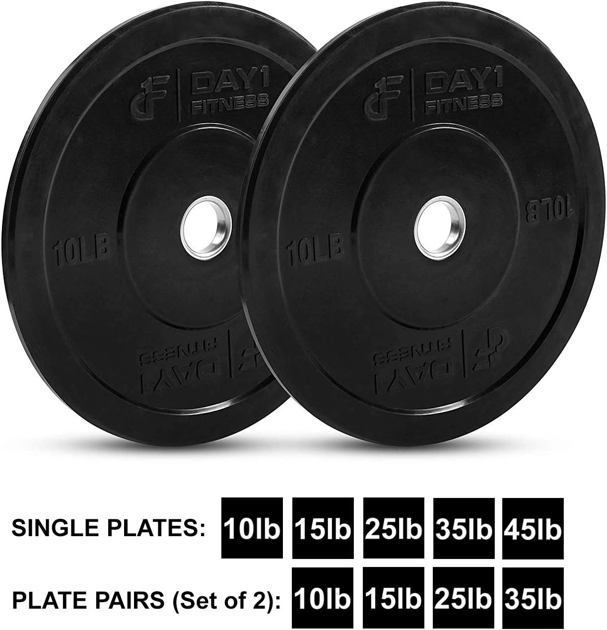 Day 1 Fitness Olympic Bumper Weighted Plate 2 for Barbells, Bars 10 lb Single Plate – Shock-Absorbing, Minimal Bounce Steel Weights with Bumpers for Lifting, Strength Training, and Working Out