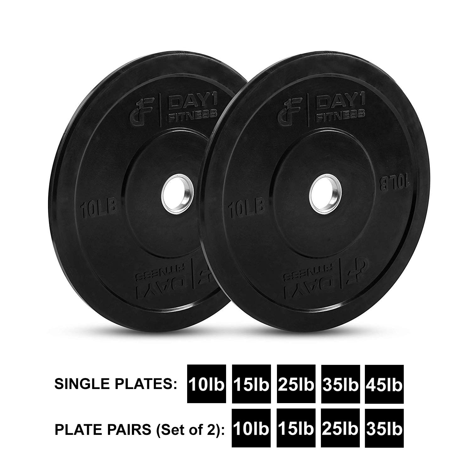 """Day 1 Fitness Olympic Bumper Weighted Plate 2"""" for Barbells, Bars – 10 lb Set of 2 Plates - Shock-Absorbing, Minimal Bounce Steel Weights with Bumpers for Lifting, Strength Training, and Working Out by Day 1 Fitness (Image #1)"""
