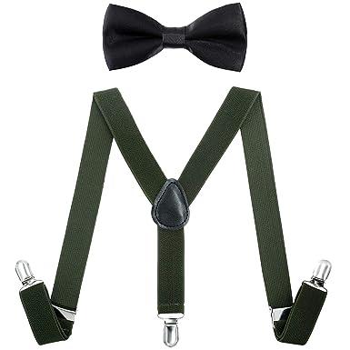 Black White Men Women Clip-on Suspender+Bow-Tie All Stripe Combo Adjustable