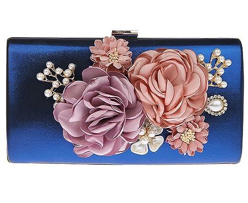 KAXIDY Bolso de Boda Flor Bolsos Clutch Fiesta Bolsos Pequeños Bolsos de Mano (Azul)