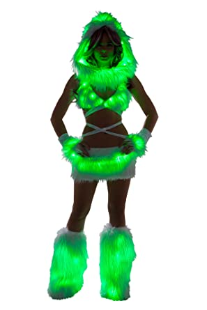 Edm Halloween Costumes | Amazon Com 1 Pc Fur Light Up Mini Skirt Rave Edm Festival Party