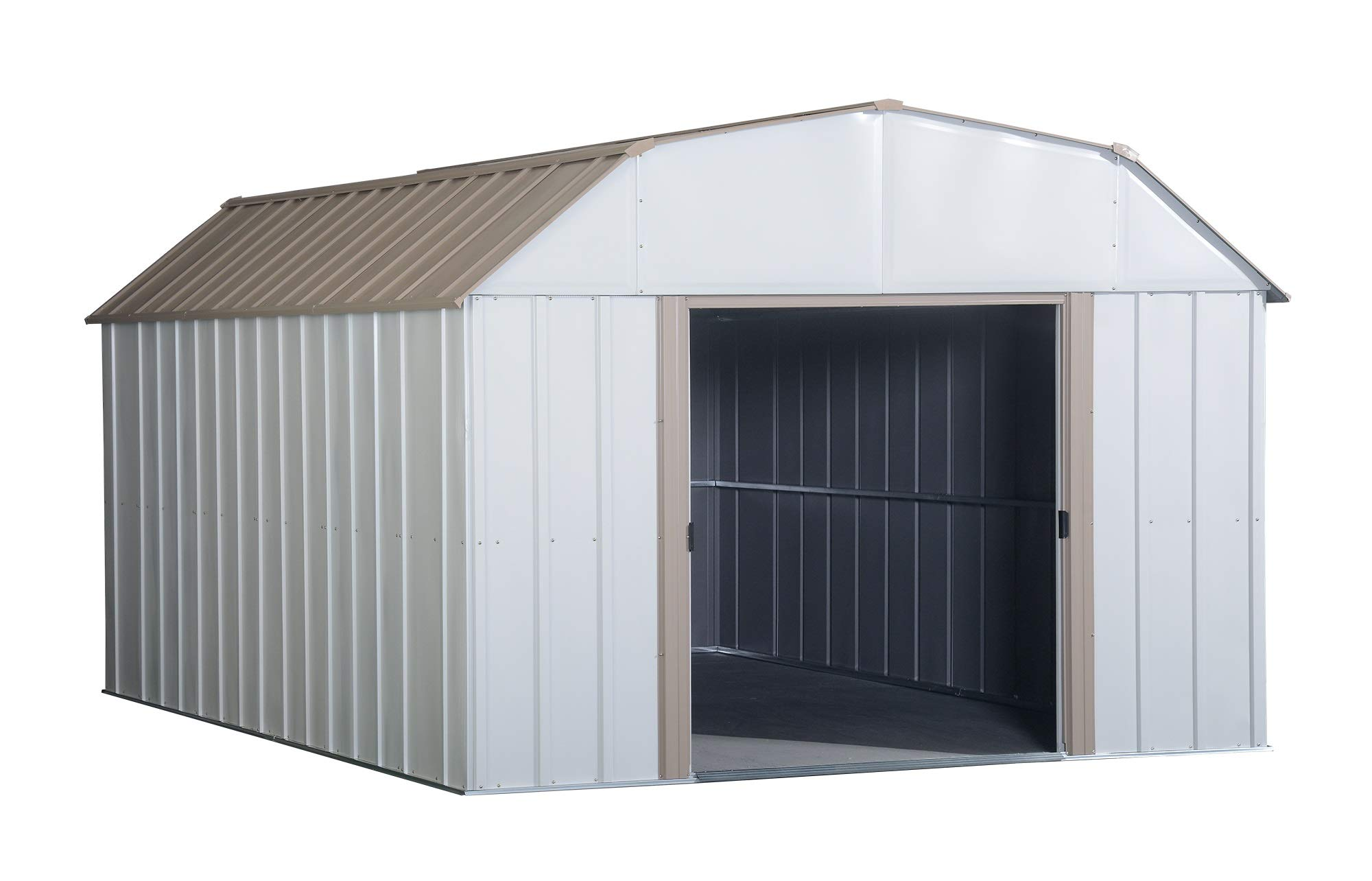 Arrow LX1014 10 x 14 ft. Barn Style Galvanized Taupe/Eggshell Steel Storage Shed by Arrow