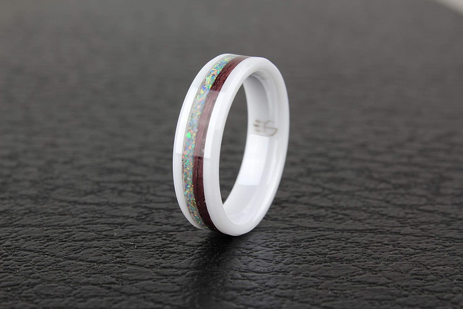 PurpleHeart with Opal inlay White Ceramic 6mm