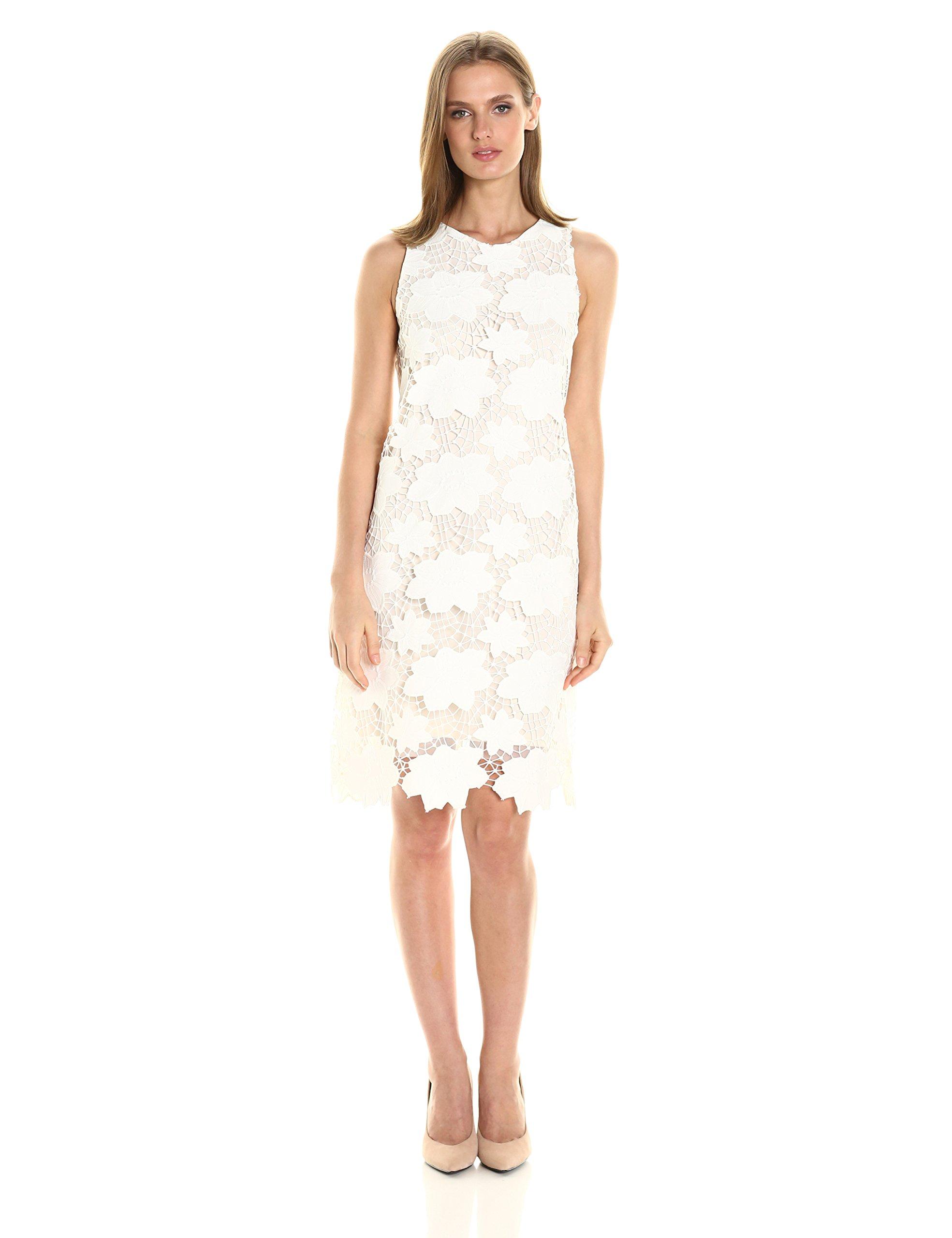 Julia Jordan Women's All Over Floral Printed Sleeveless Dress, Ivory, 14 by Julia Jordan