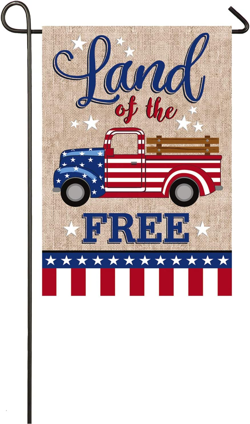 Evergreen Flag Patriotic Truck Burlap Garden Flag - 12.5 x 18 Inches Outdoor Decor for Homes and Gardens