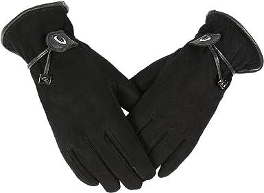 Leather Gloves Riding Gloves Work Gloves Black not lined