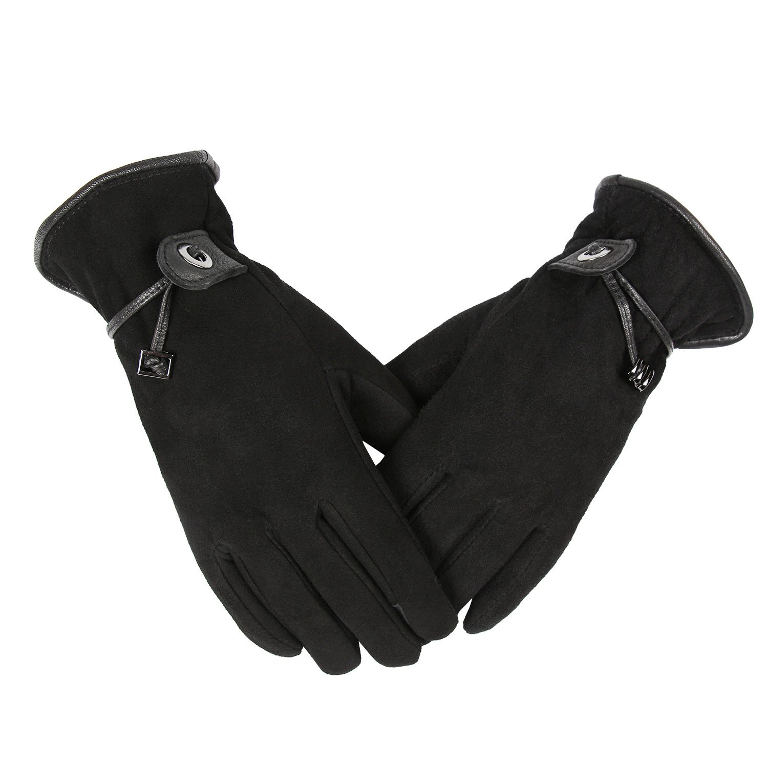 OZERO Winter Gloves Women/Girls, Deerskin Suede Leather Motorcycle Cycling Bike Glove - Sensitive Touch Screen Fingertips Silky Velour Fleece Lining - Warm Hand in Cold Weather (Black,Medium)