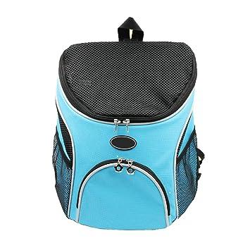 Mochila para Mascotas al Aire Libre Carrier Diseño Respirable Pet Cat Dog Puppy Carrier Bolsa de Viaje Bolsas de Hombro Dobles portátiles Azul (Tamaño : S): ...