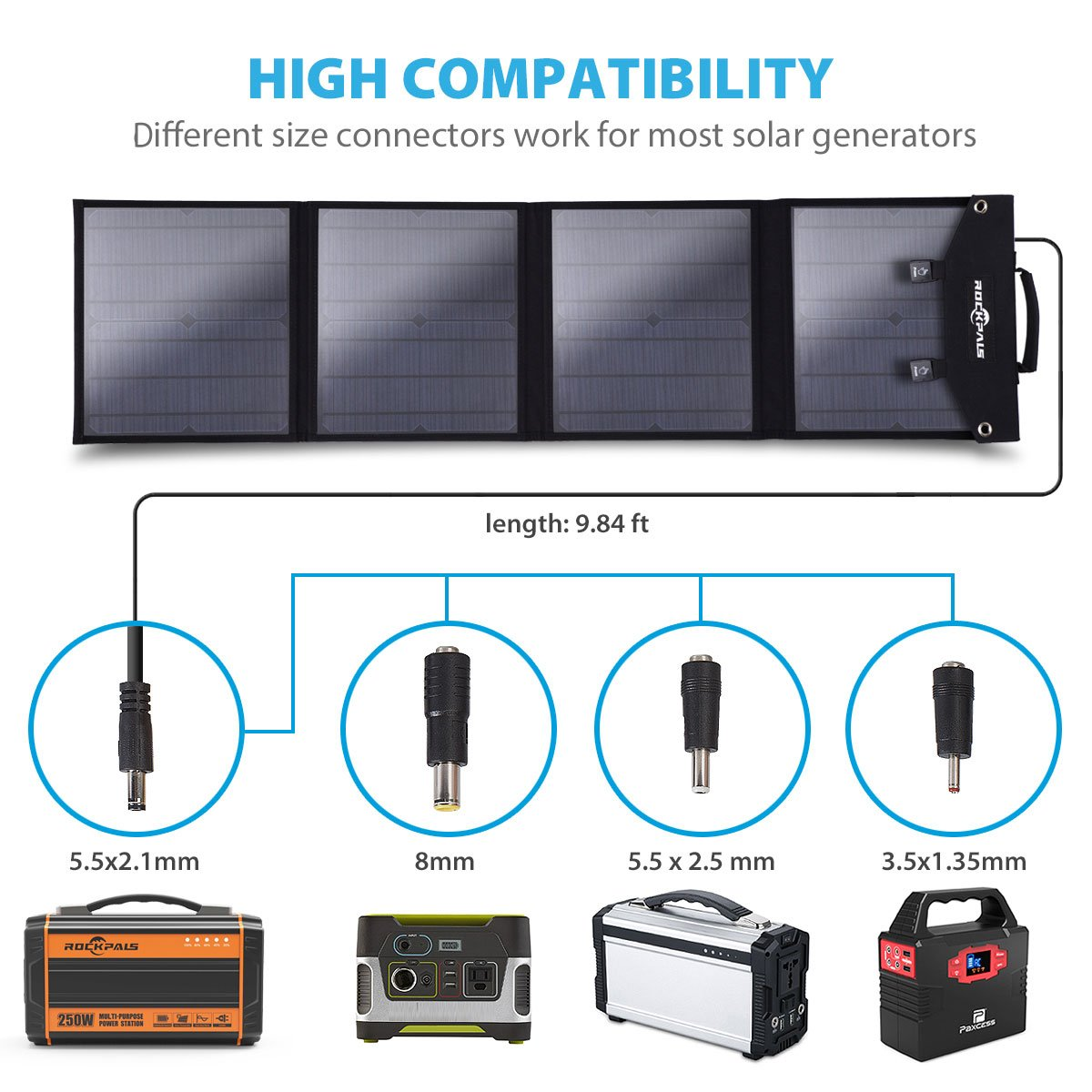 Rockpals Foldable 60W Solar Panel Charger for Suaoki Portable Generator/Goal Zero Yeti 100/150/400 Power Station/Paxcess Battery Pack/USB Devices, QC3.0 USB Ports by Rockpals (Image #2)