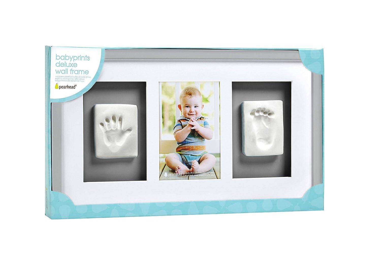 Pearhead P63001 Baby Abdruck Deluxe Wand-Bilderrahmen mit inbegriffenen Set zur Erstellung von Hand Fu/ßabdruck grau perfektes Shower Geschenk Andenken