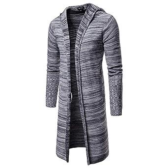 Longra ☂☂ ☂☂☛ Chaqueta con Capucha de Punto sólido con Capucha de los Hombres de Manga Larga Blusa de Abrigo Caliente: Amazon.es: Ropa y accesorios