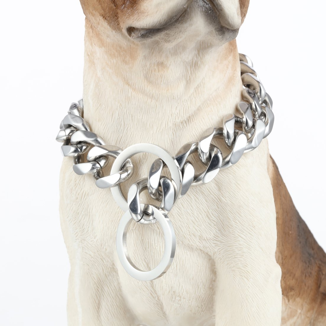 GZMZC 10/12/15/17/19mm Strong 316L Stainless Steel Curb Cuban Link Chain Dog Choker Collar 12-36inch(26inches,19mm) by GZMZC