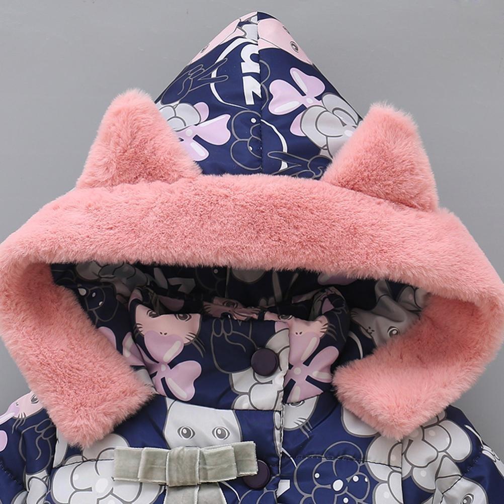 Manteau à capuche Fille Hiver Chaud Ultra Épais Doudoune Fille Longra Bébé  Vêtements dextérieur Chat Imprimé ... b0882dca304